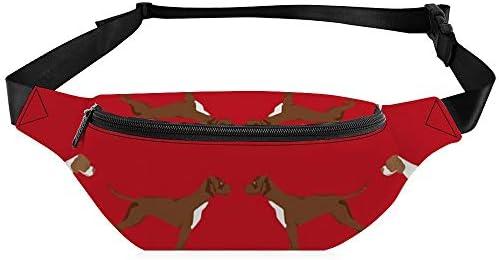 英語のポインターファブリック犬の品種コート色赤 ウエストバッグ ショルダーバッグチェストバッグ ヒップバッグ 多機能 防水 軽量 スポーツアウトドアクロスボディバッグユニセックスピクニック小旅行