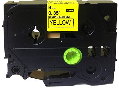Black on Yellow Extra Strength Label Tape Compatible for Brother TZ TZe S621 TZ-S621 TZe-S621 9mm P-Touch 8m 0.35 x 26.2