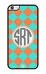 MMZ DIY PHONE CASEiZERCASE Monogram Personalized Coral and Turquoise Plaid Pattern iphone 4/4s Case - Fits iphone 4/4s T-Mobile, AT&T, Sprint, Verizon and International (Black)