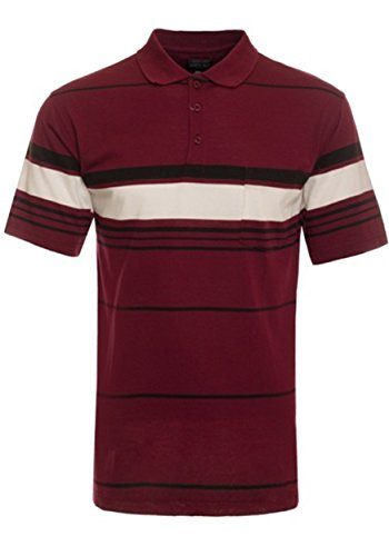 Xl Striped Polo (OLLIE ARNES Men's Classic Slim Fit Striped Polo Golf Shirts From (S - 2XL) 46_BURGUNDY XL)