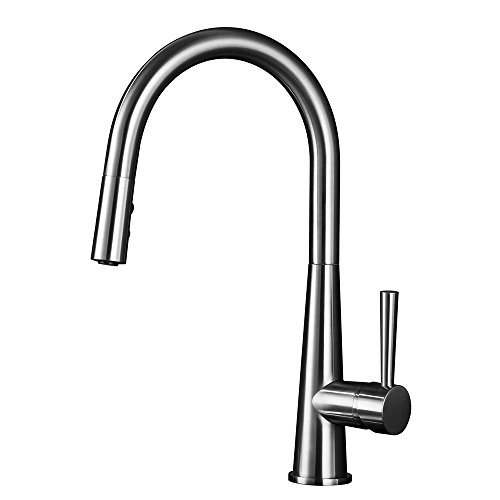 GOBGOD Pull Down Sprayer Kitchen Faucet Single Handle Kitchen Sink Faucet with Pull Down Sprayer Brushed Nickel Pull Out Kitchen Faucet (Brushed Nickel PVD (Pvd Single Lever)