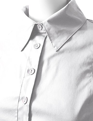 ELF FASHION Roll up 3/4 Sleeve Button Down Shirt for Womens Made in USA (Size S~3XL) White 3XL by ELF FASHION (Image #3)
