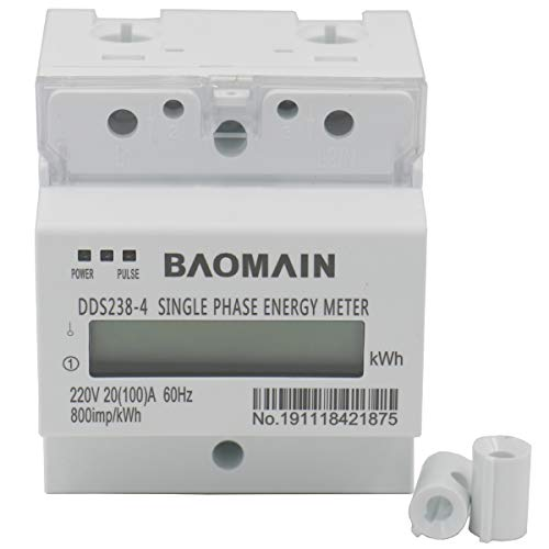 Baomain Single Phase DIN-rail Type Kilowatt Hour kwh Meter 220V 60Hz 20 (100) A (3 Phase 3 Wire Energy Meter Connection)