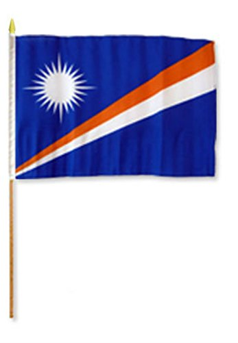 ALBATROS 12 inch x 18 inch Marshall Islands Stick Flag with Wood Staff for Home and Parades, Official Party, All Weather Indoors -