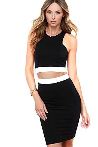 Kearia Women Sleeveless Sexy 2 Pieces Bodycon Bandage Evening Party Clubwear Dress Black Small (Colorblock 2 Piece Dress)