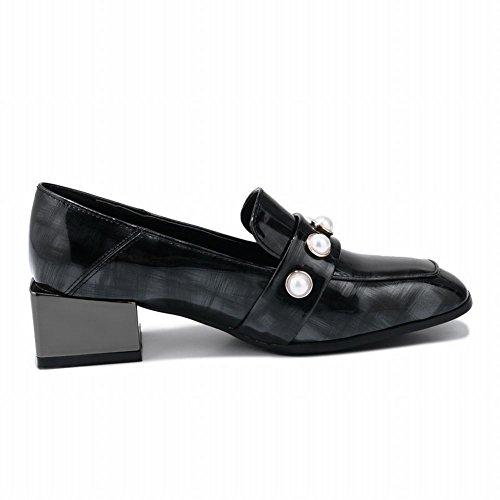 Chic Mid Shoes Heel Court Block Shoes Heel Women's Black Mee Slip On 1qEqZ0