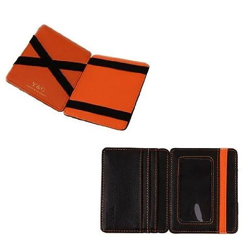 YCM020105 Black Orange Fashion Leather Magic Wallet New Year's Gifts By (Sintetico Cassa Del Cuoio)