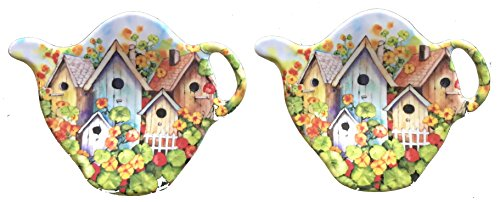 2 Tea Spoon / Bag Rests - Many Styles - Durable Melamine Plastic -unbreakable - kitchen decor accessory (2 Tea Spoon/Bag Rests (3 in), Bird (Melamine Tea Bag Holder)