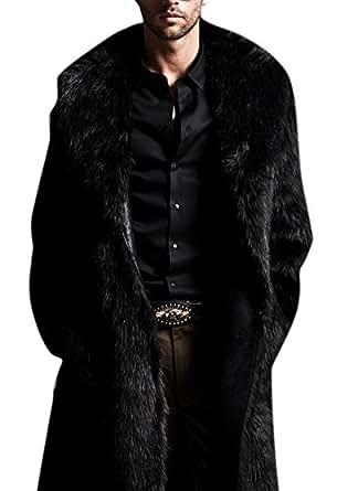 Amazon.com: Hochock Men's Winter Lapel Faux-Fur Long
