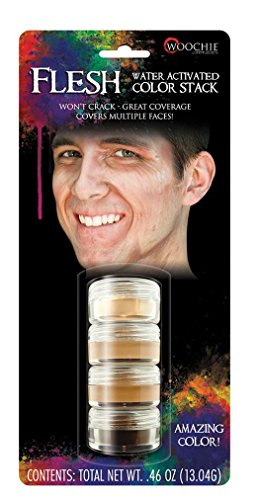 Woochie Water Activated Makeup Stack - Professional Quality Halloween and Costume Makeup - Flesh