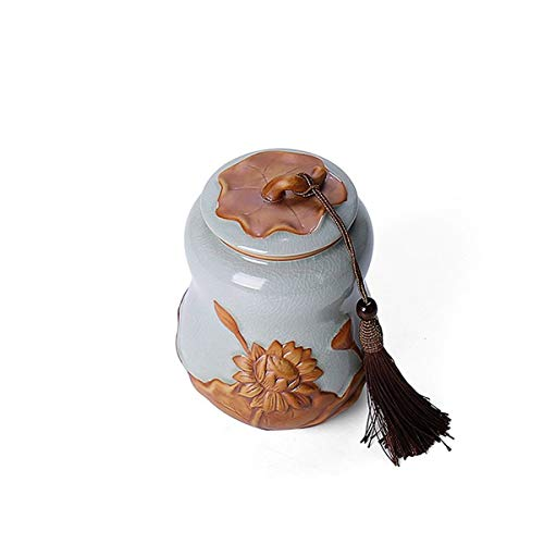 MUZIWENJU GuyuexuanPet Casket, Urn Cans, Animal Coffins, Dual-use, Cat and Dog Death Souvenirs, Handmade Ceramic Sealed Cans Latest Models (Color : Azure)