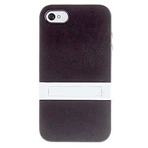 Solid Color Protective TPU Case with White Stand for iPhone 4/4S (Assorted Colors) --- COLOR:Pink