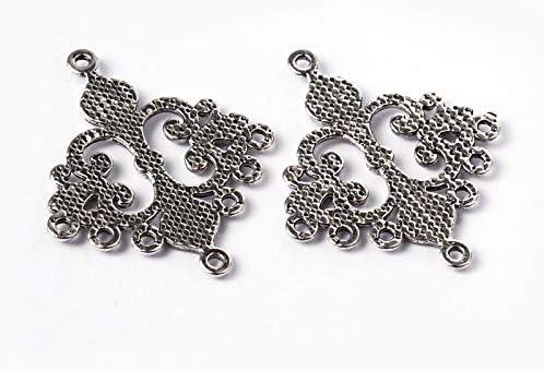 10pcs Tibetan Alloy Rhombus Chandeliers Filigree Earring Findings Silver 36x30mm