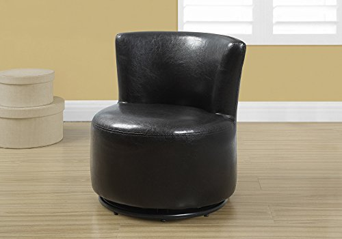 Monarch Specialties Upholstered Swivel Juvenile Chair, Leather Look, Dark  Brown