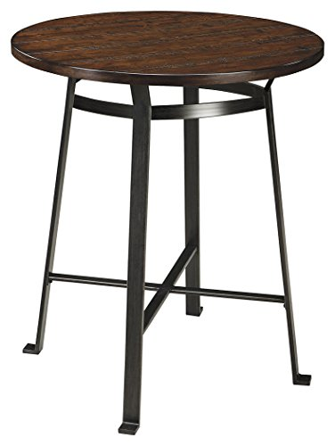 Ashley Furniture Signature Design - Challiman Dining Room Bar Table - Counter Height - Round - Rustic (Bronze Leather Accent Table)