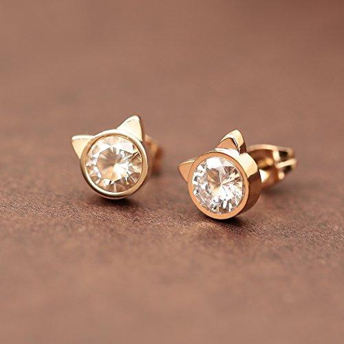 HANFLY Cat stud earrings Cat Ears Earrings Fashion earrings Rhinestone stud earrings (White Rhinestone) by HANFLY (Image #4)