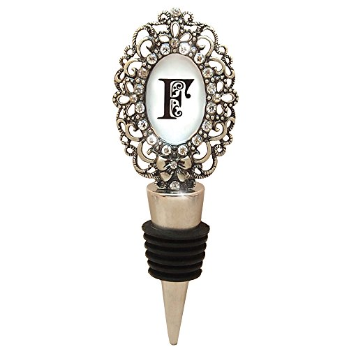 Monogram Bottle Stopper (All For Giving Wine Bottle Stopper, Letter F Monogrammed, Pewter)