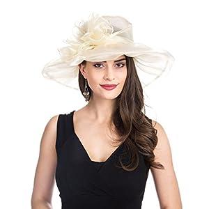 6bf80c1676d21 SAFERIN Women s Organza Church Kentucky Derby Fascinator Bridal Tea Party Wedding  Hat ...
