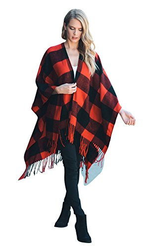 Daisy Del Sol Knit Buffalo Plaid Checkered Wrap Oversized Blanket Sweater Poncho (Red) (Plaid Poncho)