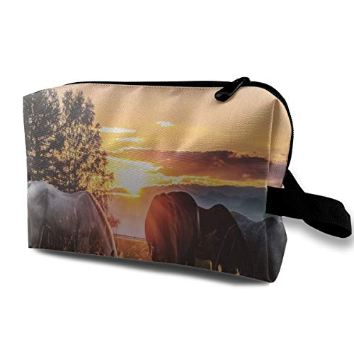 Horses Sunset Cosmetic Bags Makeup Organizer Bag Pouch Zipper Purse Handbag Clutch Bag]()