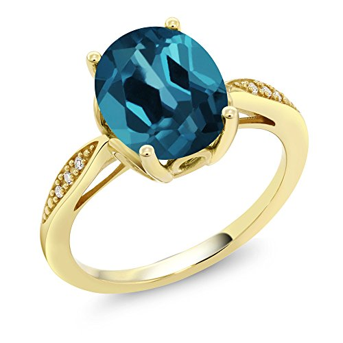 Gem Stone King 14K Yellow Gold 2.84 Ct Oval London Blue Topaz and Diamond Ring (Size 7)