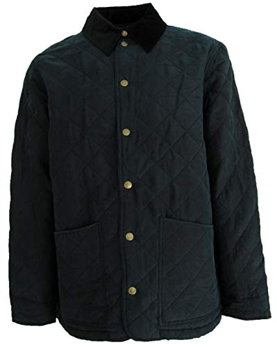Men's Mid-Weight Silk Jacket Snap Buttons Corduroy Collar (Large, Faded Black) ()