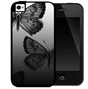 Black and Gray Large Beautiful Butterflies Design 2-Piece Dual Layer High Impact Black Silicone Cell Phone Case Cover iPhone 4 4s