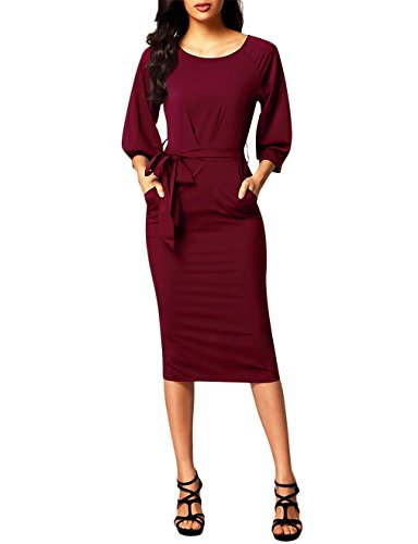 Sleeve Pencil Casual 3 4 Red Wear to Wine Business Bodycon Belts HNNATTA Women's Dress Work Pocket with qnFt5IqPx