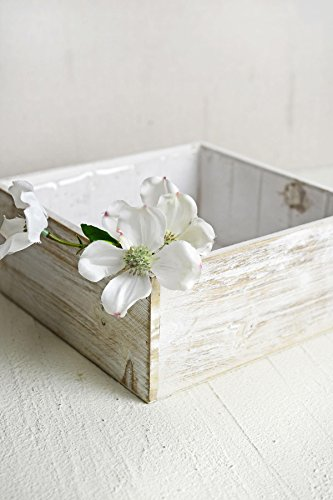 (Richland Planter Box White Wood Square 9