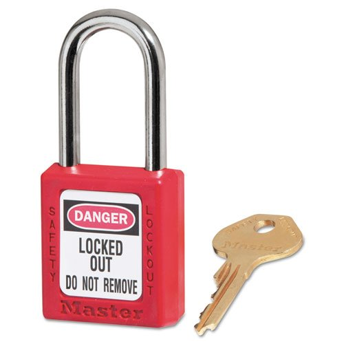Master Lock - Government Safety Lockout Padlock, Zenex, 1 1/2'', Red, 1 Key, 6/Box 410RED (DMi BX