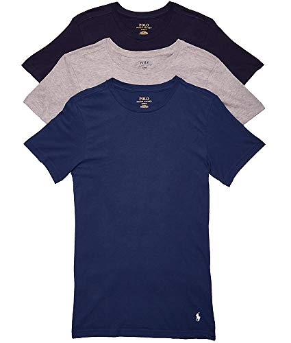 Polo Ralph Lauren Classic Fit Cotton T-Shirt 3-Pack, L, Navy/Blue/Grey