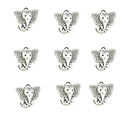 80pcs Vintage Antique Silver Alloy Animal Elephant &Elephant Head Charms Pendant Jewelry Findings for Jewelry Making Necklace Bracelet DIY 16x15mm (80pcs) ()