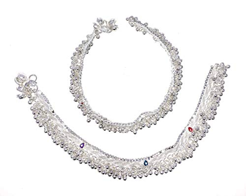 Bell Jingle Anklet - Duel on Jewel Ethnic Pakistani Indian Silver Tone Payal Anklet Pair Curved Edges with Colorful Beads
