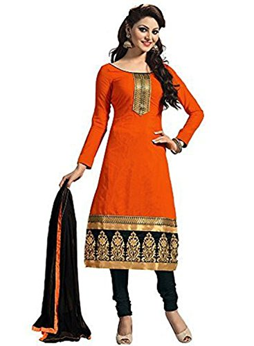 Faux Crepe Salwar Kameez - DivyaEmporio Women's Faux Crepe Orange Dress Material