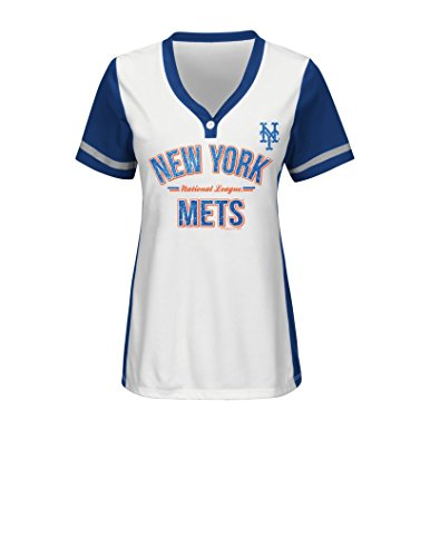 MLB New York Mets Women's Team Name Rugged Competitor Pull Over Color Block Jersey, Large, White/Deep Royal