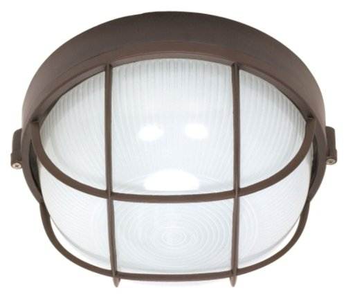 Nuvo Lighting 60/519 Bulkhead 1-Light Round Cage 60W A19, Architectual Bronze