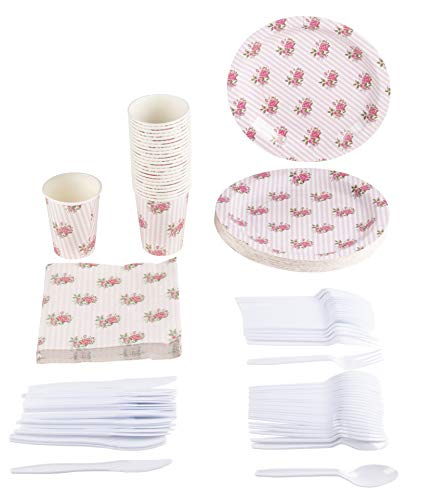 Disposable Dinnerware Set - Serves 24 - Vintage Floral Party Supplies for Birthdays, Weddings, Bridal Shower, Pink Roses Design, Includes Plastic Knives, Spoons, Forks, Paper Plates, Napkins, Cups