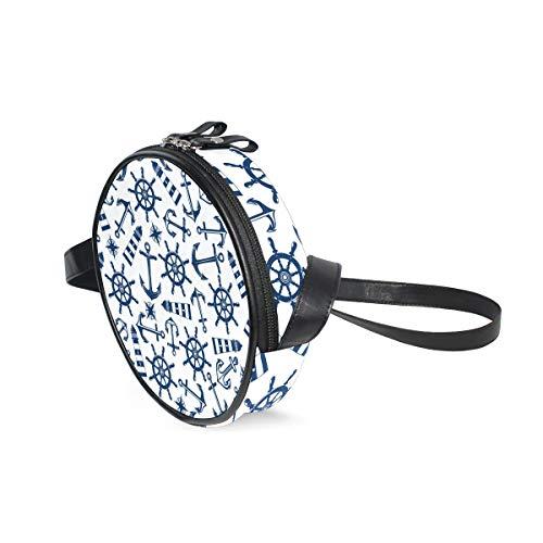 Handbag Women Pattern Shoulder Purse for Kids Round Marine Shoulder Bag Bag Sling COOSUN Items with Nautical Crossbody Blue Bag Satchel zq47xHE