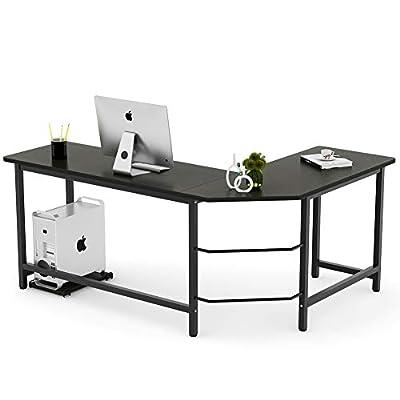 Tribesigns Modern L-Shaped Desk Corner Computer Desk PC Laptop Study Table Workstation Home Office Wood & Metal