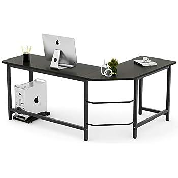 tribesigns modern l shaped desk corner computer desk pc latop study table. Black Bedroom Furniture Sets. Home Design Ideas