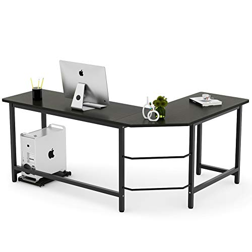 Tribesigns Modern L-Shaped Desk Corner Computer Desk PC Laptop Study Table Workstation Home Office Wood & Metal, Black (Workstation Desk Keyboard)