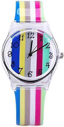 Tonnier Teenagers Young Girls Watches Chromatic Stripe Resin Band Kids Watches