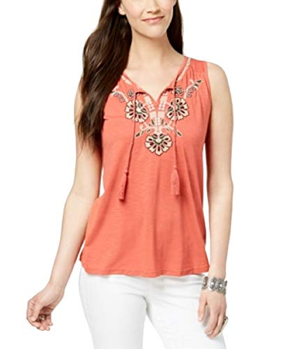 - Style & Co. Petite Embroidered Split-Neck Top (Pimpernel Bali, PXS)