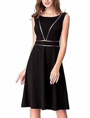 Noctflos Women's Classic A Line Casual Summer Cocktail Little Black Dress