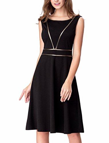 Noctflos Classic A Line Sleeveless Casual Cocktail Business Little Black Dress S