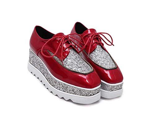 Bomba Lentejuelas Colormatching Plataforma Zapatos Amortiguar Zapatos Mujeres 7Cm Cuña Talón 4Cm Impermeable Plataforma Zapatos Casuales Encaje hasta Coser Zapatos Casuales UE Tamaño 34-40 Red