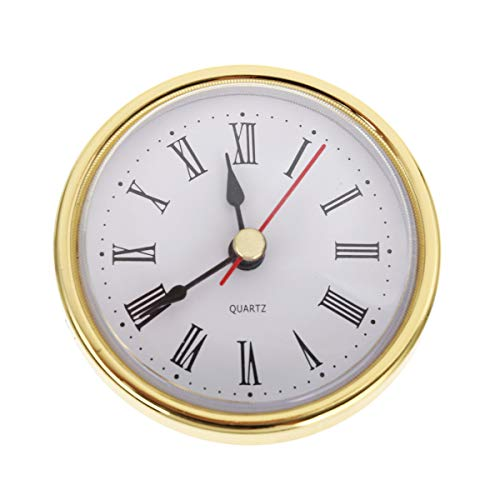 Bonlting 2.8 Inch (65 mm) Roman Numeral Quartz Clock Insert with Gold Trim