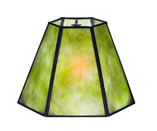B&P Lamp Supply New Craftsman Green Mica Hexagonal Shade, 4.25