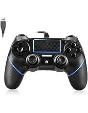Powcan PS4 Controller Bedrade Controller voor Playstation 4 Dual Vibration Shock Joystick Gamepad voor PS4/PS4 Slim/PS4 Pro en PC met 2,1 m lange USB-kabel (zwart/blauw)
