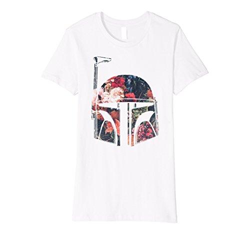Womens Star Wars Boba Fett Floral Print Helmet Premium T-Shirt Medium (Boba Fett Female)